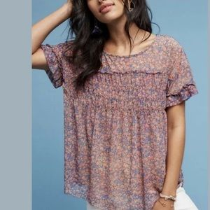 Anthropologie Deletta Robyn Floral Smocked Top XS